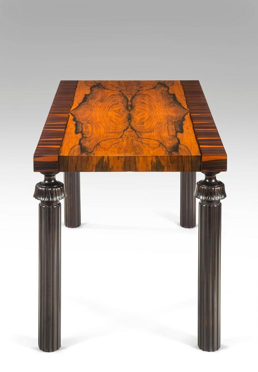 Art Deco Reiners Möbelfabrik, A Swedish Macassar, Palisander and Ebonized Birch Table For Sale