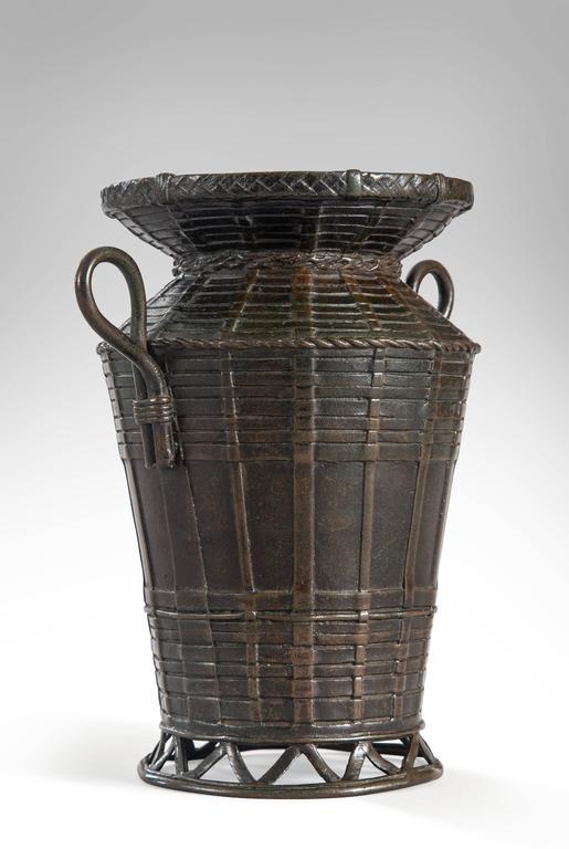 A Japanese Bronze Basket Vase With Handles At 1stdibs