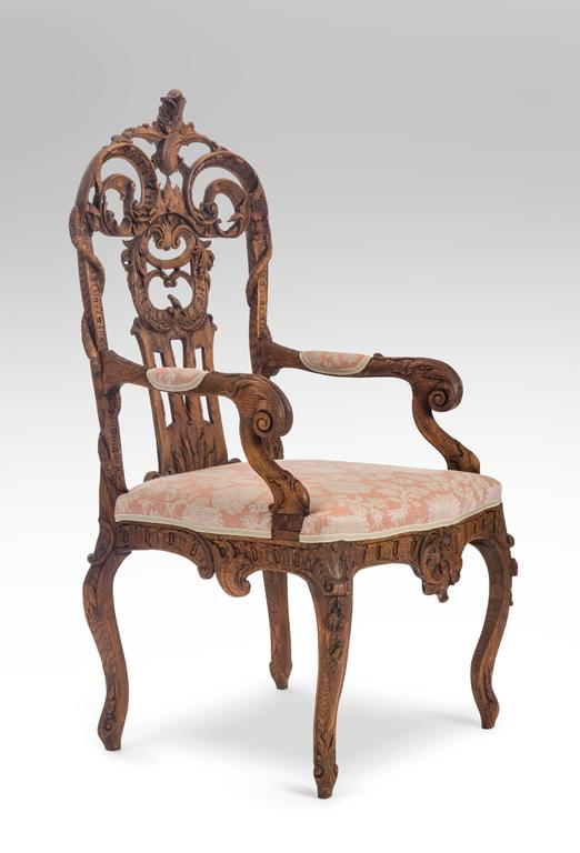 Belgian Pair of Liege or Aix-la-chapelle Rococo Oak Armchairs For Sale