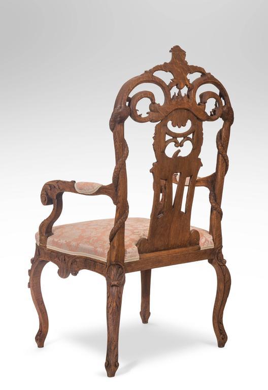Pair of Liege or Aix-la-chapelle Rococo Oak Armchairs For Sale 2