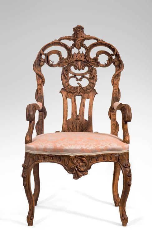 18th Century Pair of Liege or Aix-la-chapelle Rococo Oak Armchairs For Sale