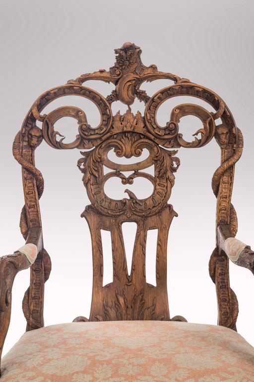 Pair of Liege or Aix-la-chapelle Rococo Oak Armchairs For Sale 1