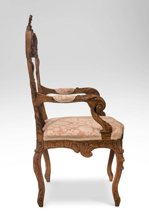 Pair of Liege or Aix-la-chapelle Rococo Oak Armchairs For Sale 3