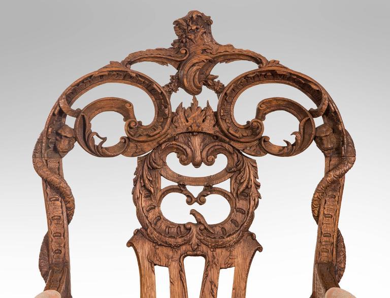 Pair of Liege or Aix-la-chapelle Rococo Oak Armchairs For Sale 4