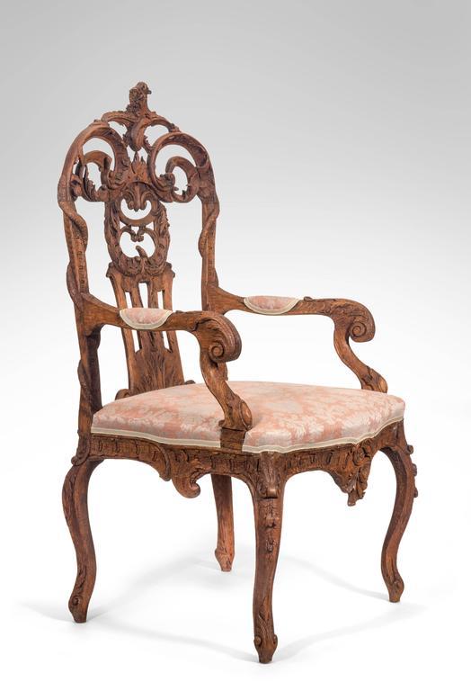 Pair of Liege or Aix-la-chapelle Rococo Oak Armchairs For Sale 5
