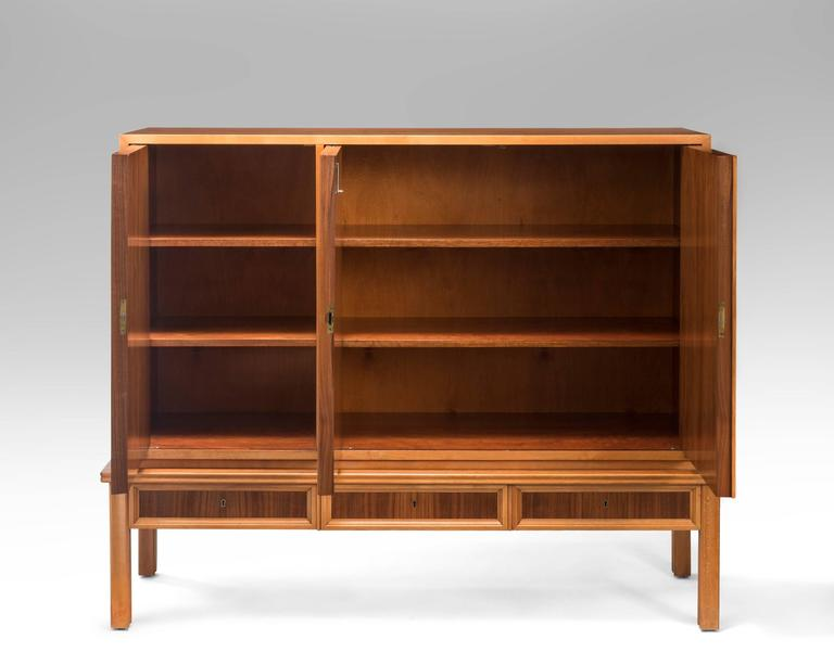 Oscar Nilsson, Attributed, Swedish Walnut and Beech Cabinet In Good Condition For Sale In New York, NY