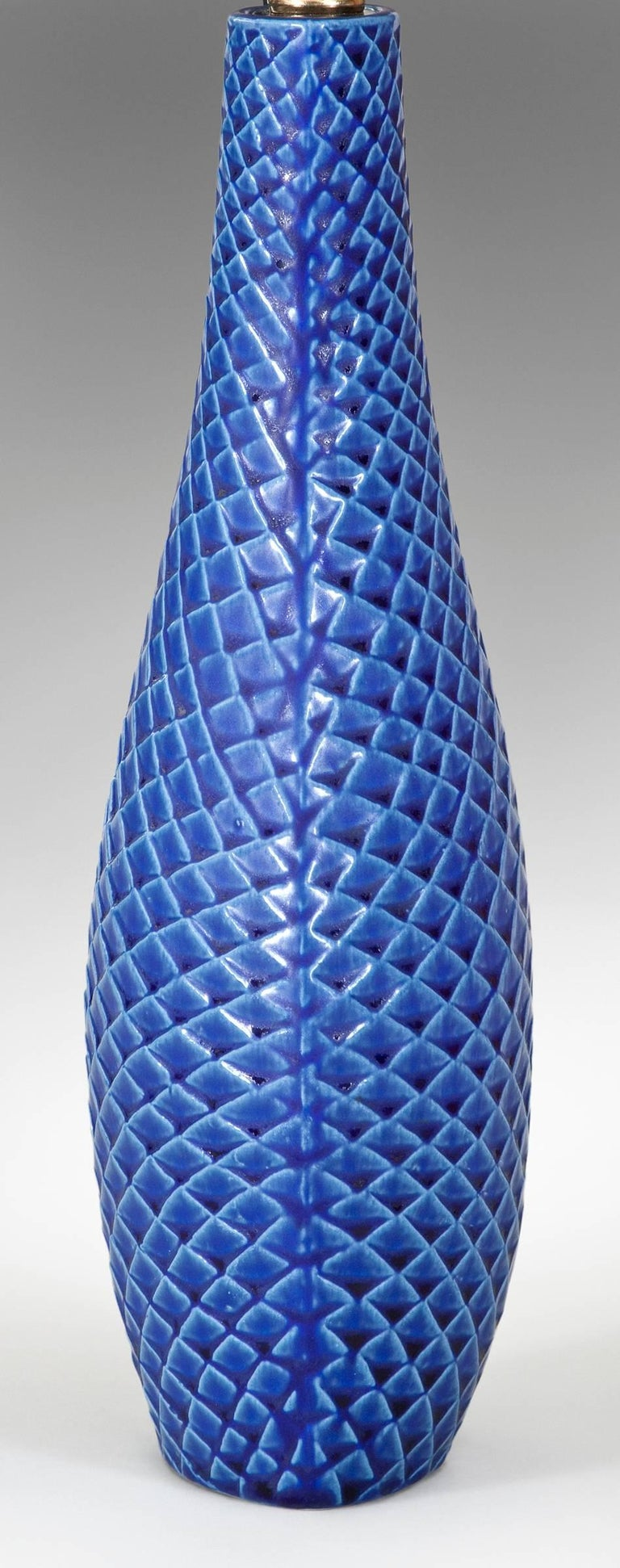 Modern Stig Lindberg Pair of Swedish Blue Glazed Reptil Ceramic Lamps For Sale
