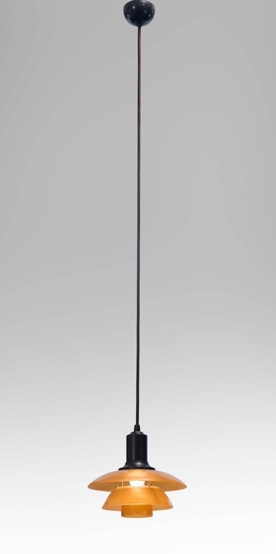 Poul Henningsen, dänisches Bernstein-Glas und patiniertes Kupfer Pendelleuchte PH-2 2
