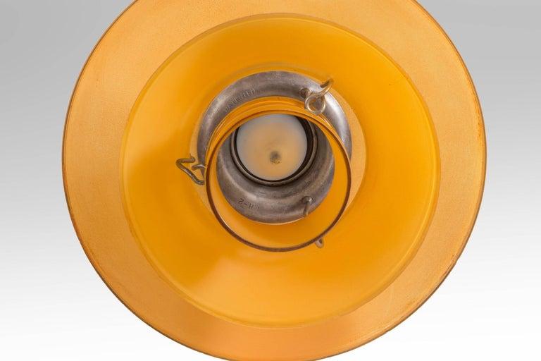 Poul Henningsen, dänisches Bernstein-Glas und patiniertes Kupfer Pendelleuchte PH-2 5