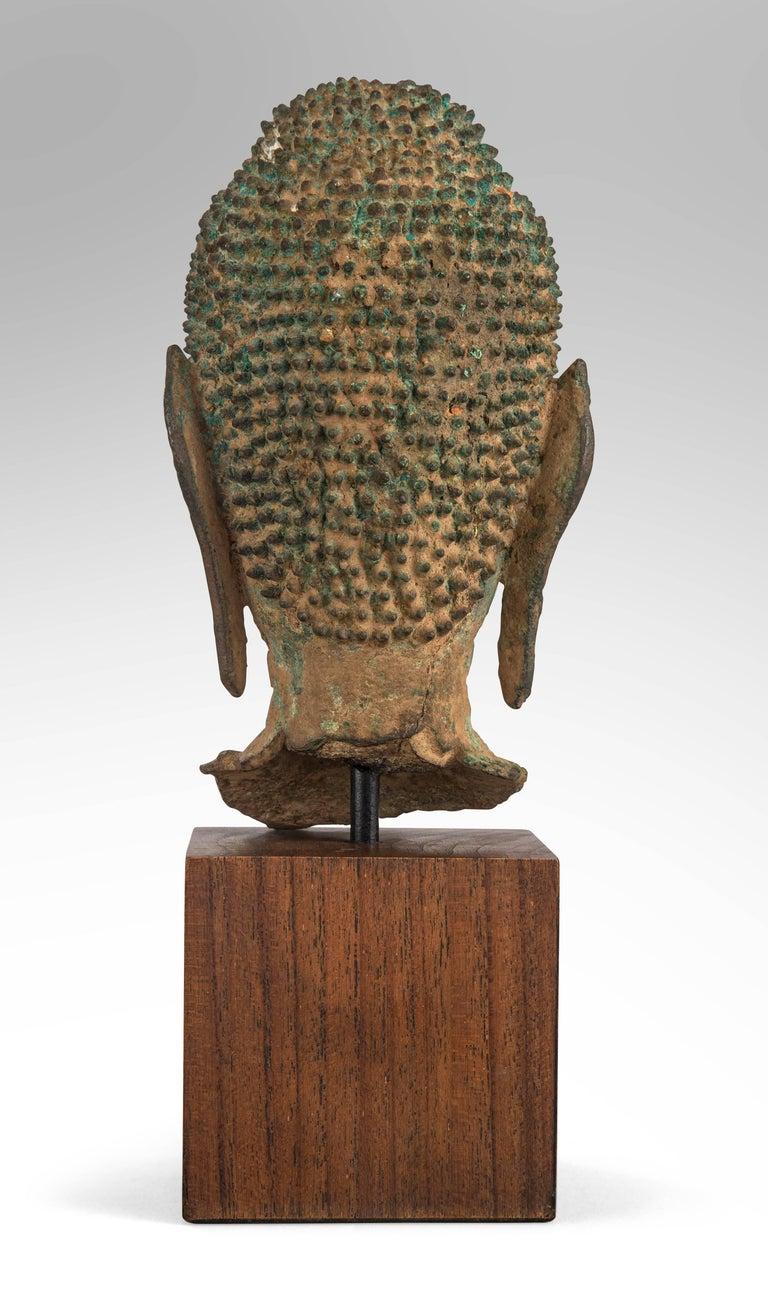 Thai Verdigris Bronze Buddha Head For Sale 3