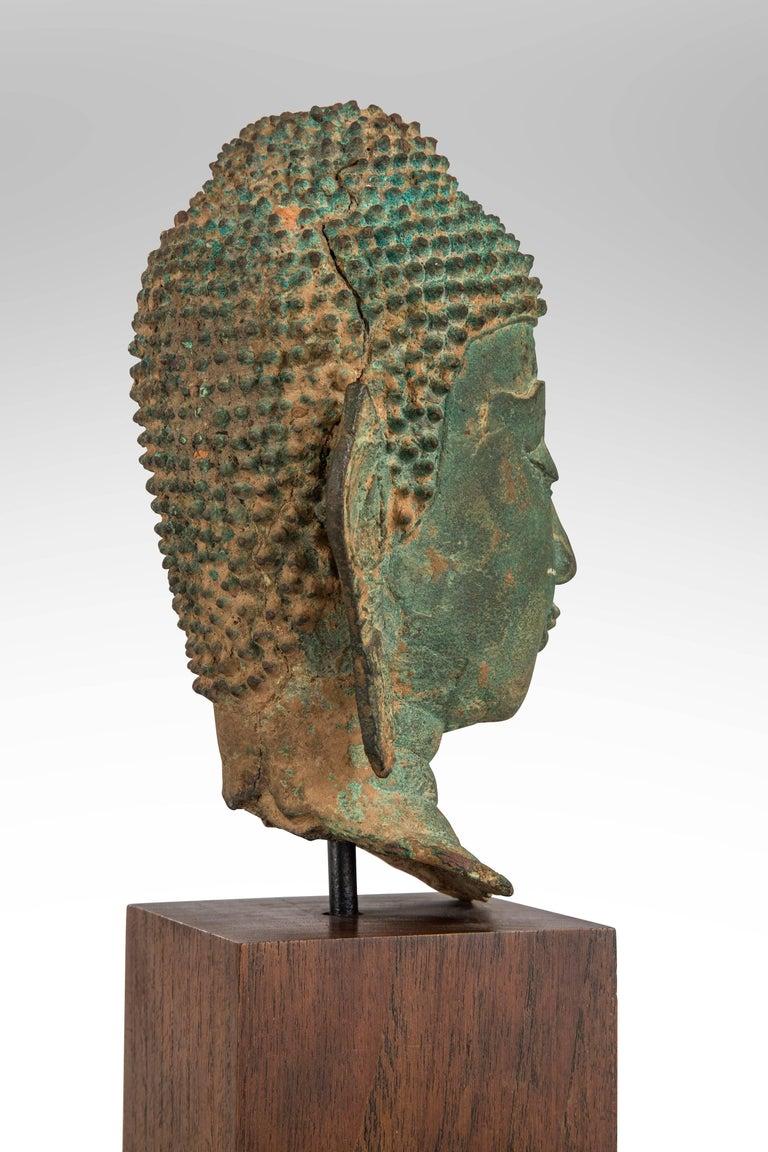 Thai Verdigris Bronze Buddha Head For Sale 2