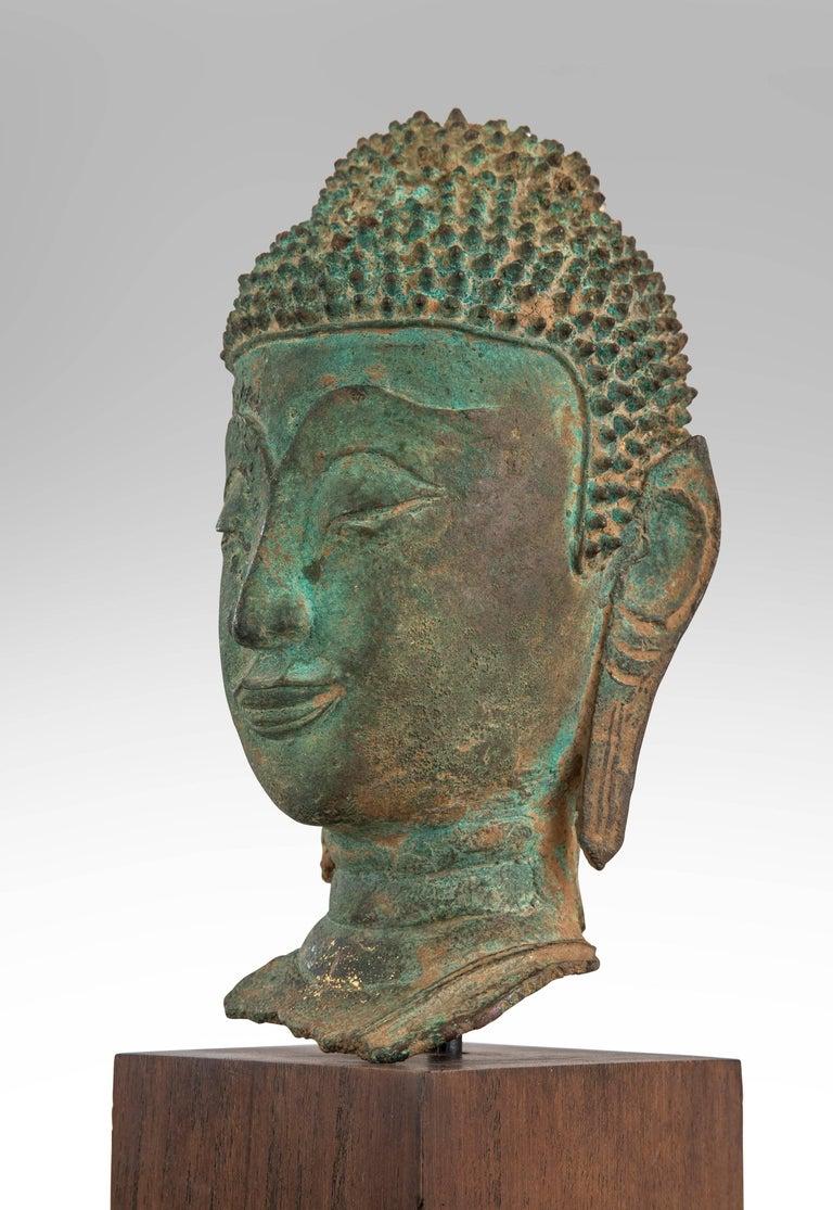 17th Century Thai Verdigris Bronze Buddha Head For Sale