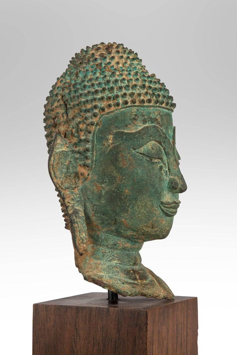 Thai Verdigris Bronze Buddha Head For Sale 1