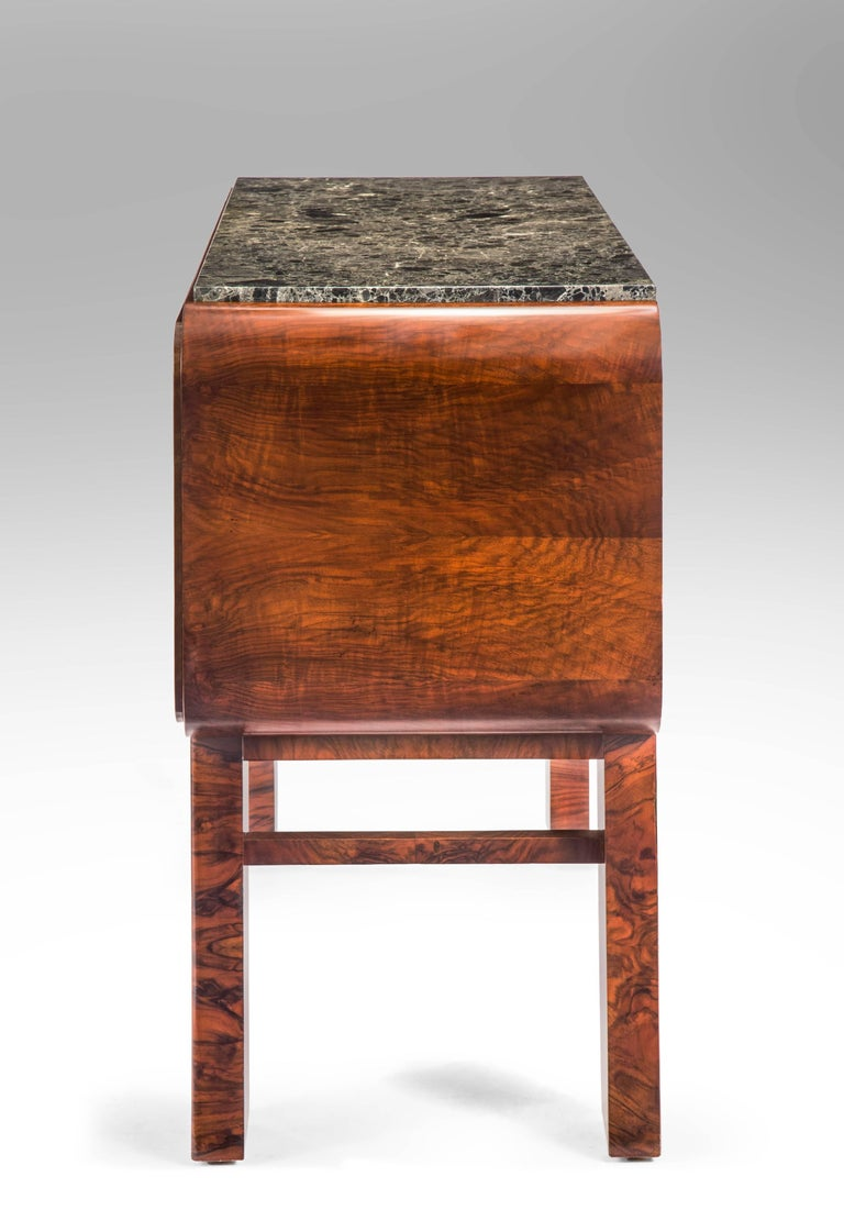 German Art Deco Burl Walnut and Marble Sideboard Cabinet For Sale 2