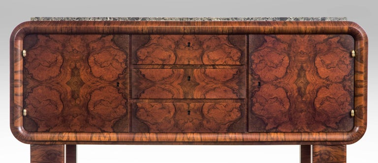 German Art Deco burl walnut and marble sideboard cabinet,