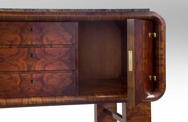 20th Century German Art Deco Burl Walnut and Marble Sideboard Cabinet For Sale
