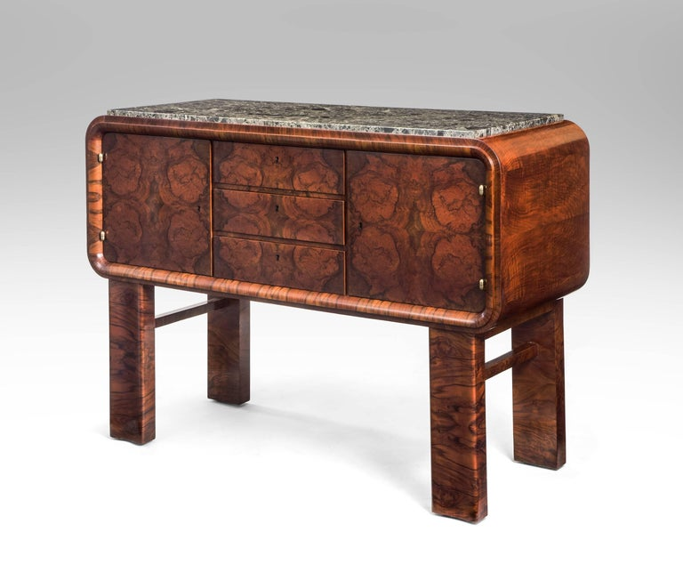 German Art Deco Burl Walnut and Marble Sideboard Cabinet In Excellent Condition For Sale In New York, NY