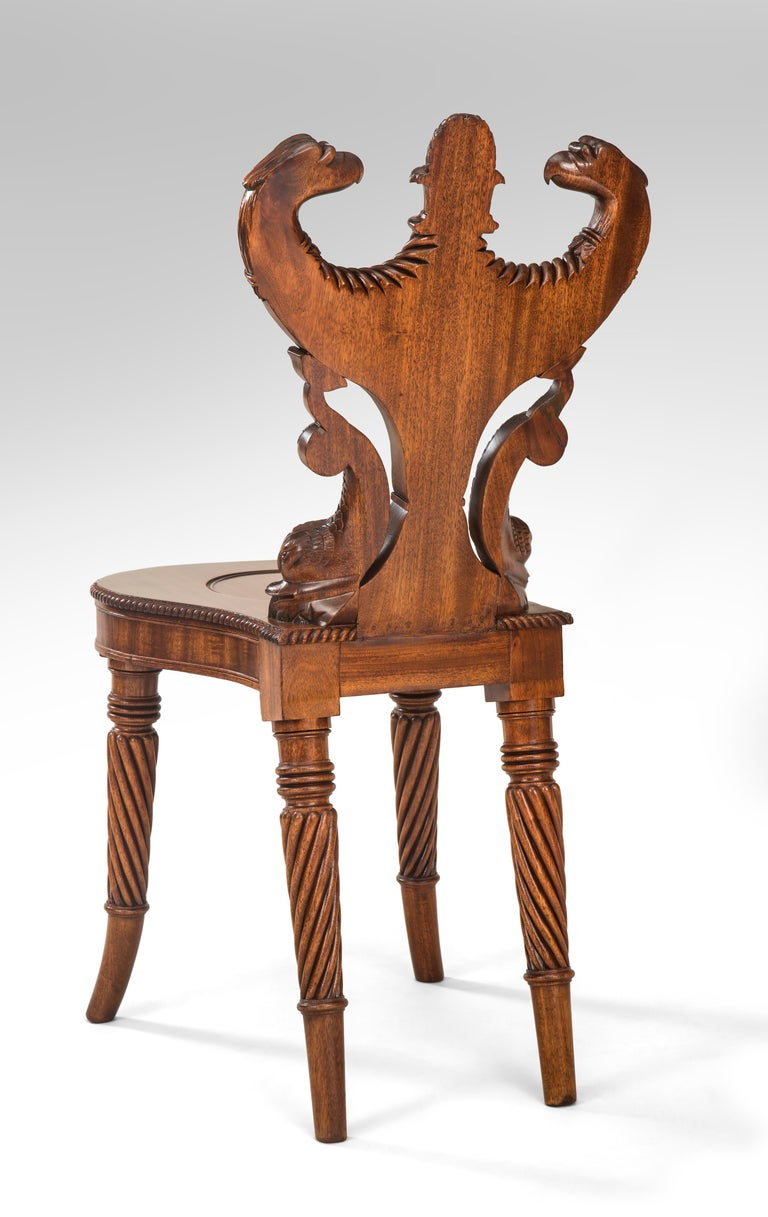 Outstanding English Regency Mahogany Hall Chair For Sale 1