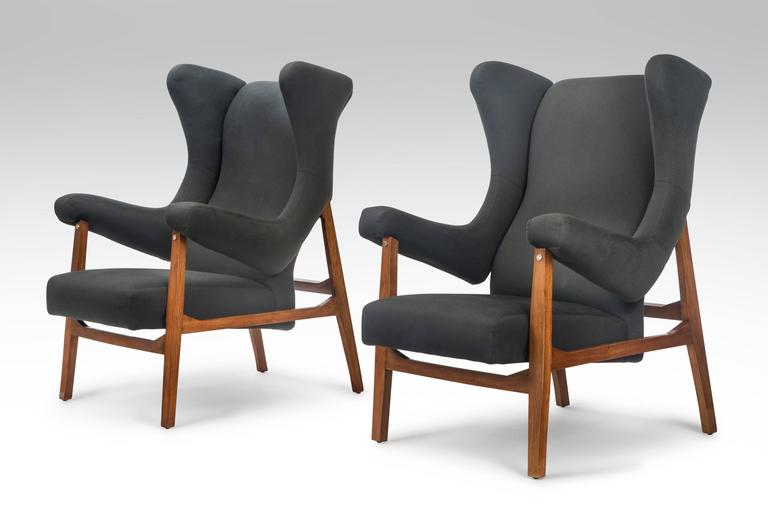 Franco Albini, Pair of Rare Italian Fiorenza Upholstered Armchairs in Loro Piana cashmere fabric, Mid 20th Century This rare and striking variation of the Fiorenza chair produced in limited quantities for a very brief period.  Extremely comfortable.
