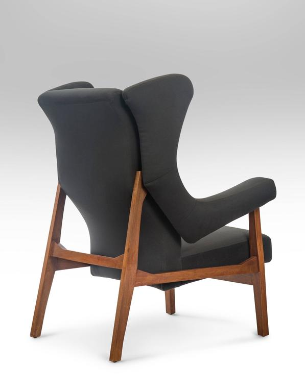 Franco Albini, Pair of Rare Italian Fiorenza Upholstered Armchairs In Good Condition For Sale In New York, NY