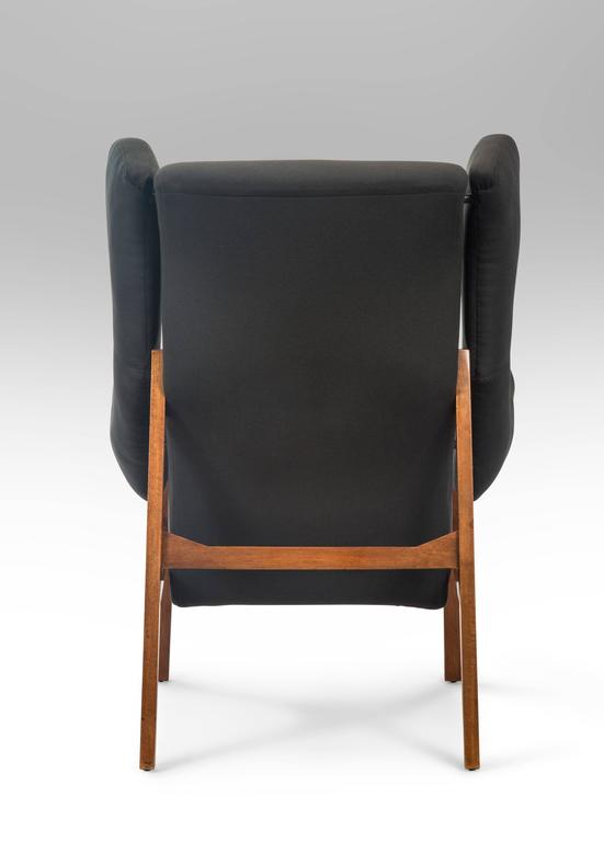 Mid-20th Century Franco Albini, Pair of Rare Italian Fiorenza Upholstered Armchairs For Sale