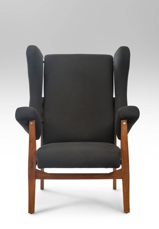 Mid-Century Modern Franco Albini, Pair of Rare Italian Fiorenza Upholstered Armchairs For Sale