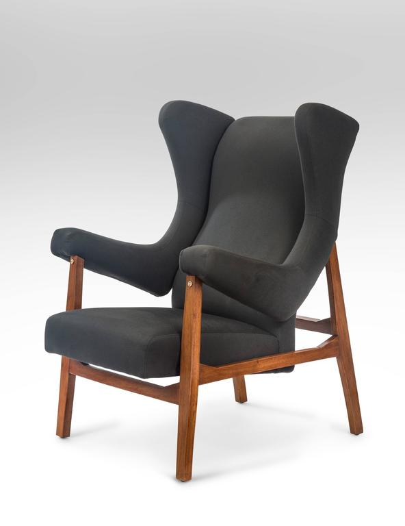 Franco Albini, Pair of Rare Italian Fiorenza Upholstered Armchairs For Sale 1
