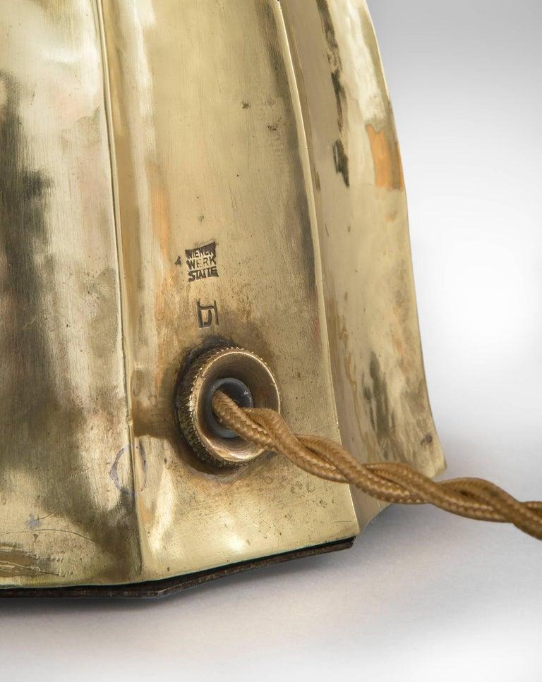 Josef Hoffmann, Wiener Werkestätte, Vienna Secession, Pair Brass Table Lamps For Sale 1