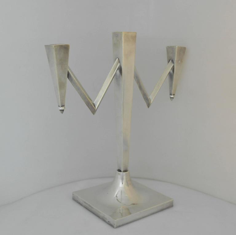 Incredible, Large Sterling Silver Modernist Three-Light ... - photo#11