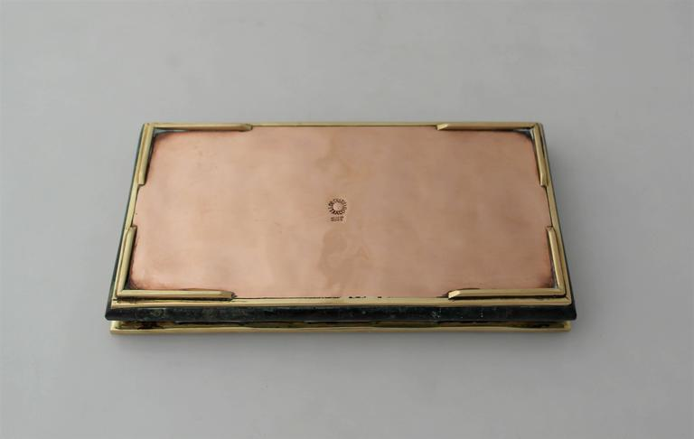 Mid-20th Century Los Castillo Circa 1960 Mixed Metals Stone Swan Motifs Box - one of two boxes For Sale