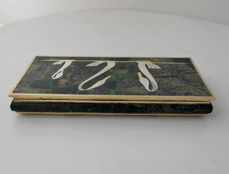 Mexican Los Castillo Circa 1960 Mixed Metals Stone Swan Motifs Box - one of two boxes For Sale