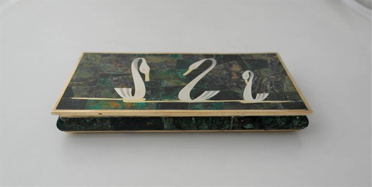 Los Castillo Circa 1960 Mixed Metals Stone Swan Motifs Box - one of two boxes For Sale 2