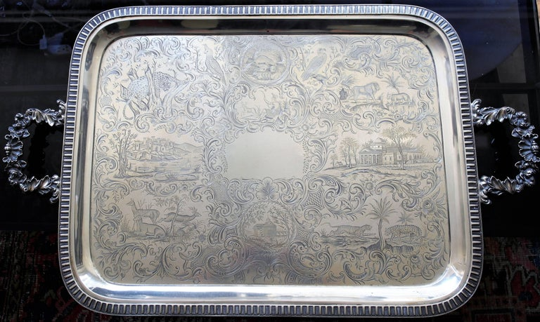 American THE VERY BEST Museum Quality, Monumental Gale Coin Silver Tray MANY ANIMALS For Sale