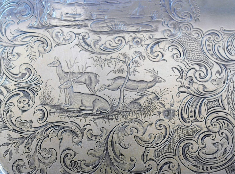 THE VERY BEST Museum Quality, Monumental Gale Coin Silver Tray MANY ANIMALS In Excellent Condition For Sale In New York, NY