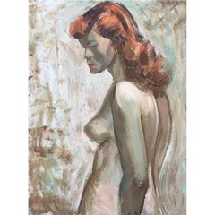 "Edgar O. Kiechle, #253, ""Red Headed Nude"" Painting"