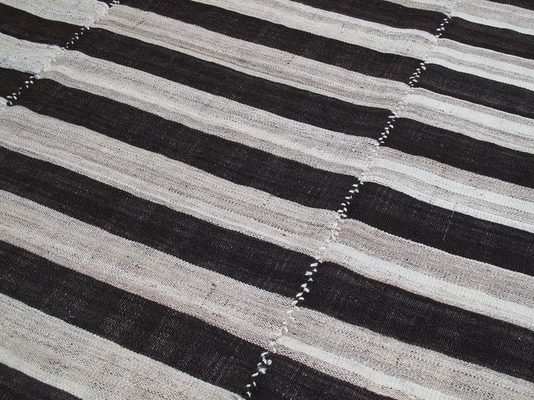 Hand-Woven Banded Mazanderan Kilim For Sale