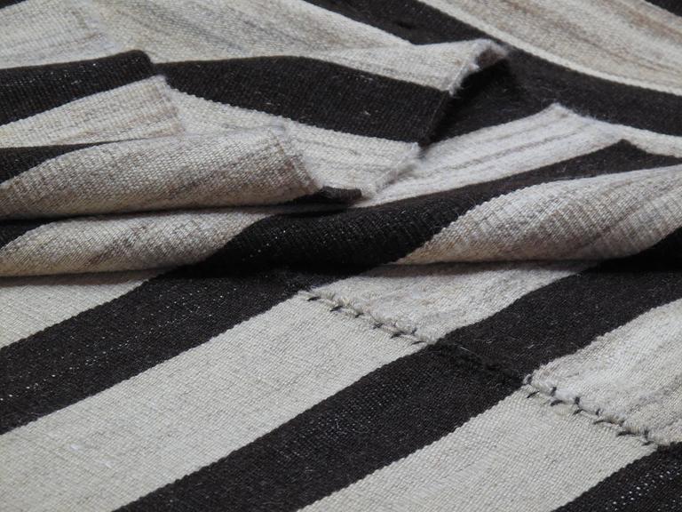 Wool Banded Mazandaran Kilim Rug For Sale