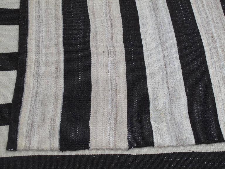 Banded Mazandaran Kilim Rug For Sale 2