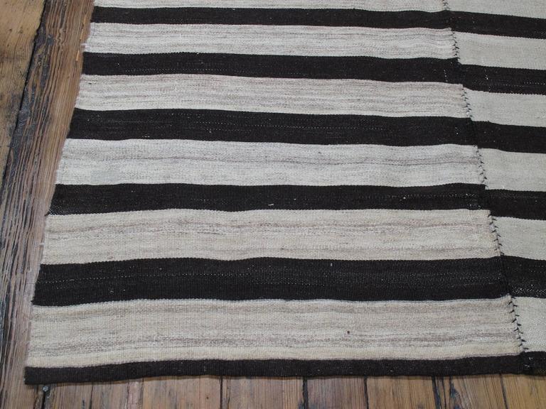 Banded Mazandaran Kilim Rug For Sale 1