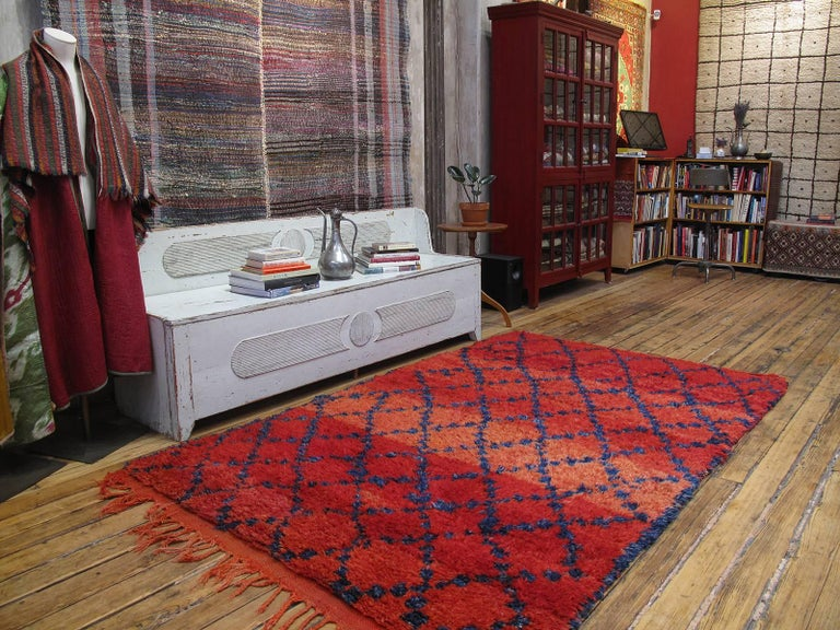 Simple and elegant with an incredibly inviting color palette, it takes a while to appreciate this is no ordinary Berber rug. A brilliant example attributed to the Ait Sgougou of the Middle Atlas Mountains of Morocco. The rich indigo color is an