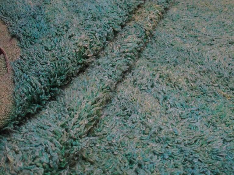 Wool Green Moroccan Berber Rug For Sale