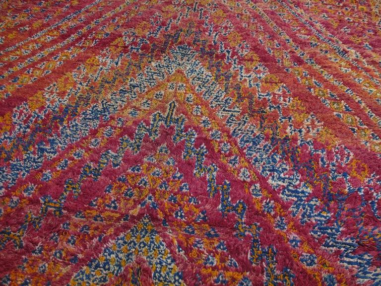 Hand-Knotted Beni Mguild Moroccan Berber Carpet For Sale