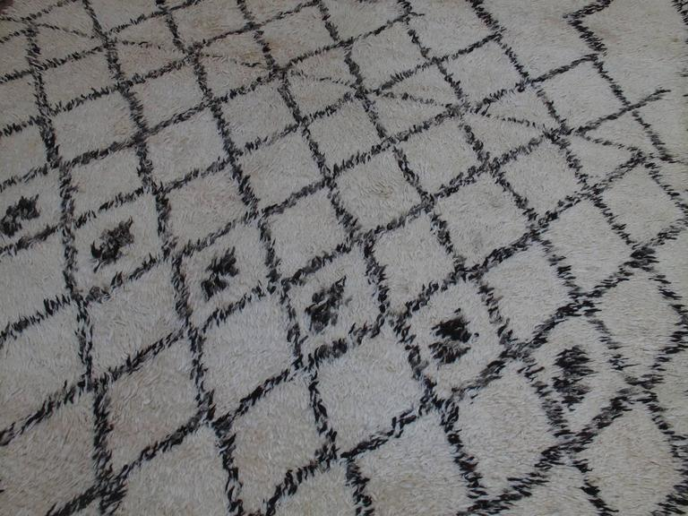 Hand-Knotted Massive Beni Ouarain Moroccan Carpet For Sale