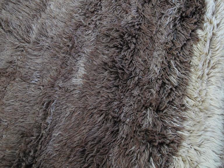Wool Brown Tulu with Border and Center For Sale
