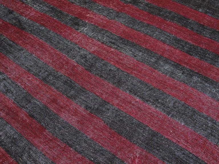 Hand-Woven Banded Goat Hair Kilim Rug For Sale