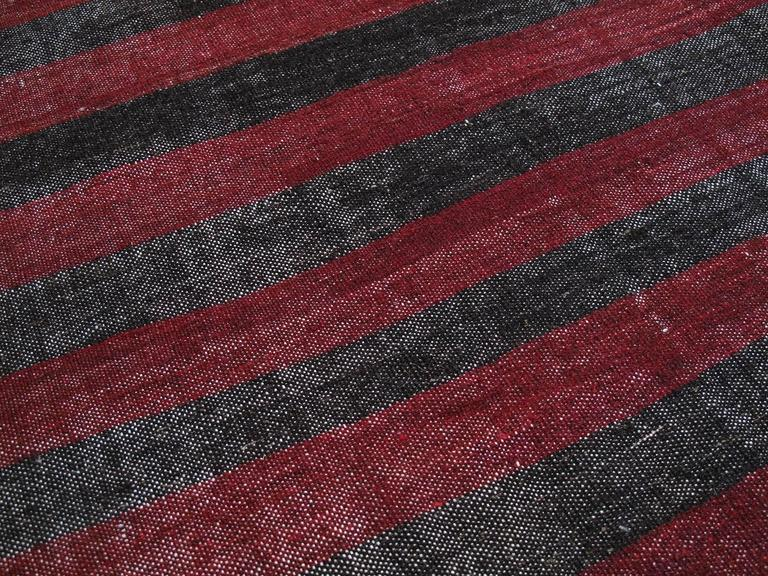 Banded Goat Hair Kilim Rug In Good Condition For Sale In New York, NY