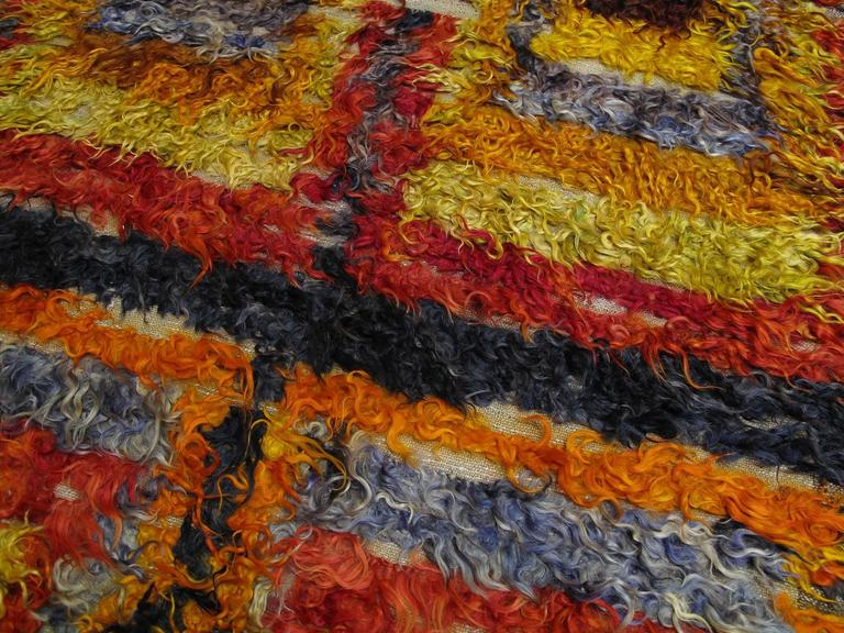 Four Squares, Angora Tulu Rug In Good Condition For Sale In New York, NY