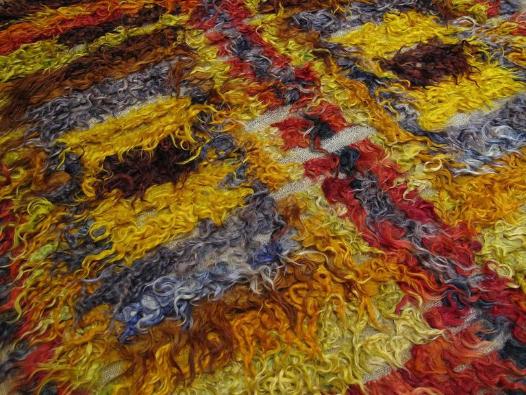 Hand-Knotted Four Squares, Angora Tulu Rug For Sale