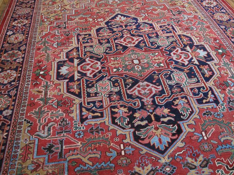 Heriz Serapi Antique Heriz Carpet with Gentle Wear For Sale