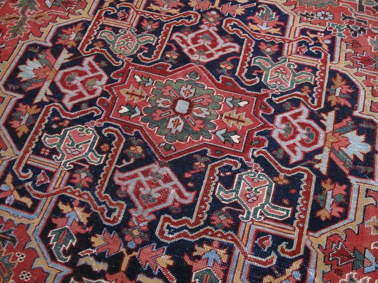 Persian Antique Heriz Carpet with Gentle Wear For Sale